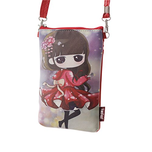 FakeFace, Borsa a tracolla donna Rosso Red dress girl Red dress girl