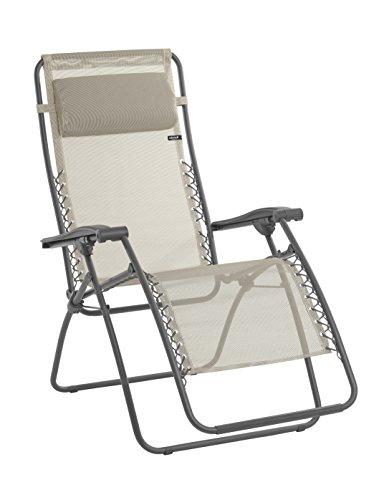 Lafuma Relax-Liegestuhl, Klappbar und verstellbar, Mit Schnürsystem, RSXA, Batyline, seigle (beige) - Herzen Liege