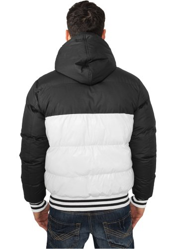 URBAN CLASSICS - Shiny 2-tone Hooded College Bubble (white/black) - Jacke White/Black