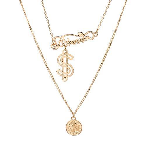 MSSZH Halskette Goldene Schönheits-Kopf-Halsketten-Symbol-Dollar-Zeichen Beschriftet Mehrschichtiges, Gold