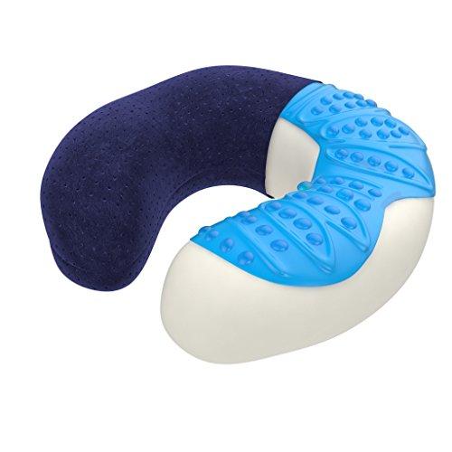 bonmedico Ergonomische Nackenkissen aus Memory Foam, Reisekissen Und Nackenhörnchen, Travel Pillow (Blau) -