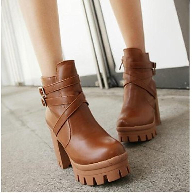 RTRY Zapatos De Mujer Pu Cuero Nappa Moda Otoño Invierno Bomba Básica Botas Botas Chunky Talón Botines/Botines...