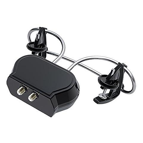 HD-Line HD-910T Antenne TV Clip-On UHF Amplifiée Réception des chaines TNT Argent