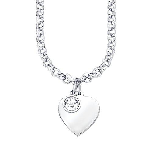 s.Oliver Damen-Kette 42+3 cm mit Anhänger Herz (gravurfähig) Edelstahl Swarovski Kristall weiß