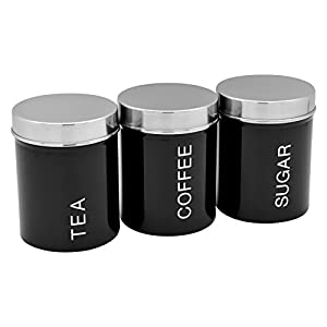 Lot de boîtes en métal - thé/café/sucre - noir