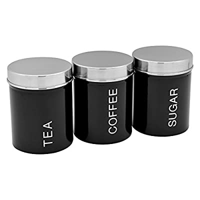 Ensemble de boîtes métalliques pour le thé, le café et le sucre couleur Noir