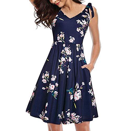 CUTUDE Damen Kleider Röcke Kurzarm Sommerkleider Frauen Blumen V-Ausschnitt Casual Fliege Tasche Strandkleid (Marine, Medium) (Nähen Kleid Form, Medium)