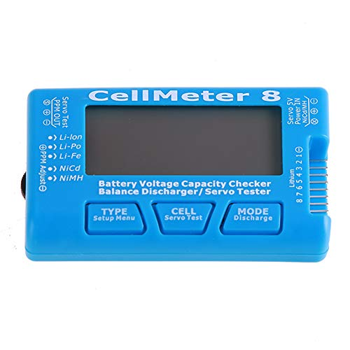 Nicd-batterie-tester (GCDN Smart Digital Battery Capacity Checker for LiPo Life Li-ion NiMH NiCd 2-8s Lithium Battery Meter Tool Battery Voltage Tester Digital Cell Capacity Check with Backlight, blau, 8.5 * 5 * 1.6cm)