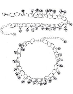 Mudder 2 Stück Bell Fußkettchen Schelle Armband Perlen Charm Knöchel Kette Frauen Strand Fuß Sandalen Schmuck,...