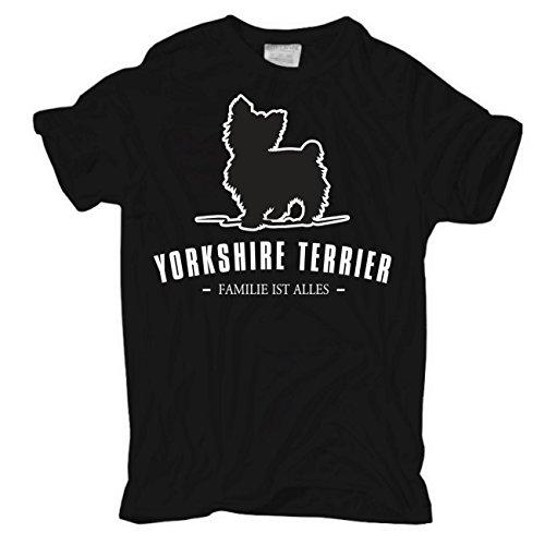 Männer und Herren T-Shirt Yorkshire Terrier - Familie ist alles Größe S - 8XL Körperbetont schwarz