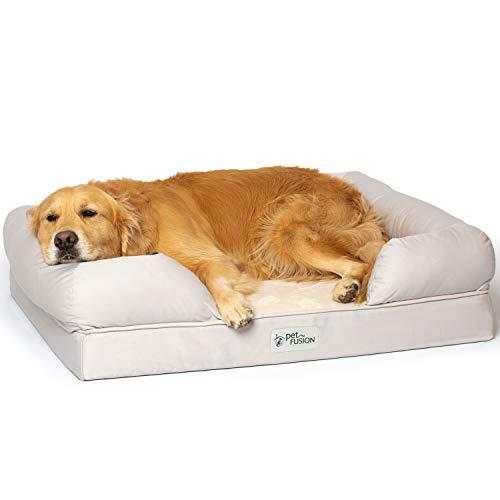 PetFusion Hundebett und -Lounge (Large 91x71cm, Sandstone). Premium Edition aus stabilem Kaltschaum mit Memory-Effekt. [Ersatzbezüge erhältlich] -