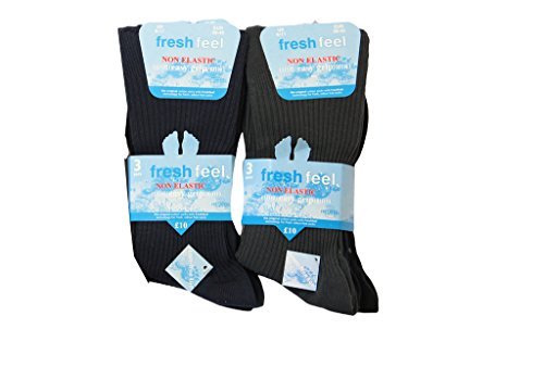 6pairs Mens Loose Grip Non Elastic Cotton Blend Ribbed Socks Office Diabetic Socks UK Shoe Size 6-11