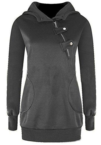 Ghope Femme Printemps Automne Mode Sweat À Capuche Sweatshirt Avec Cordon De Serrage Hoodies Blouse Tops Gris foncé