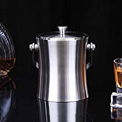 Double Walled Ice Bucket With Tongs Inside Lid 1insulated Stainless Steel Ice Bucket , 1.0l