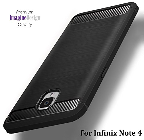 For Infinix Note 4 – WOW Imagine Premium Shock Proof Carbon Fibre Brushed Texture Armour Series [ Air Cushion Anti Shock Technology ] Impact Resistant Slim Profile Flexible TPU Phone Back Case Cover