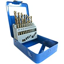 S&R Juego Brocas COBALTO HSS para Metal Profesionales. Juego de 19 brocas de 1,0 a 10 mm, DIN 338, HSS cobalto, cobalto aleado C - corte pulido a la norma DIN 1412 135 °. En solida caja de metal.