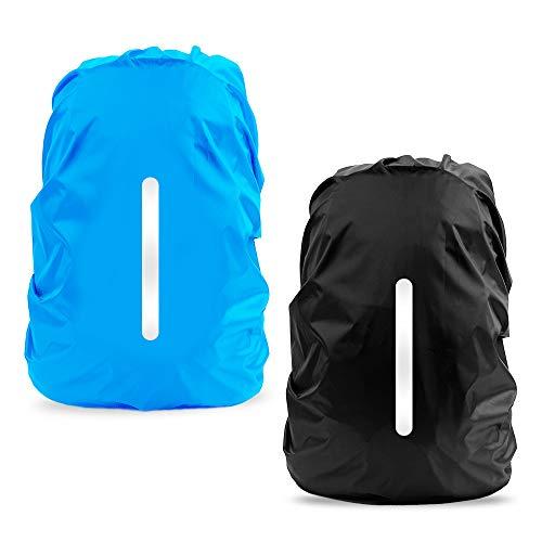 LAMA Parapioggia per Zaino, 2 Pacchi Impermeabile Outdoor Zaino Parapioggia Reflective Copri Zaino per Pioggia/Anti Polvere/Antifurto/Bicycling/Escursionismo/Outdoor attività S 25L-29L Blu Nero