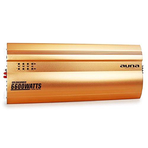 auna Goldhammer • 5-Kanal Auto Endstufe • Verstärker • Car Amplifier • 6600W max. Leistung • Lautstärke-/ Frequenzregler • regelbarer Hoch-/ Tiefpassfilter • zuschaltbarer Super Bass • brückbar • gold