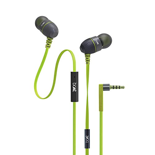 boAt BassHeads 225 In-Ear Headphones with Mic (Neon Lime)