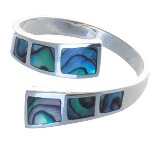 Bella Carina Damen Ring mit Abalone Paua Muschel offen, verstellbar, 925 Sterling Silber