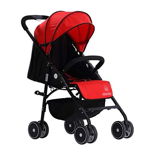 BLWX - Baby Push Light Poussette Pliante Inclinable Asseyez-Vous Poussette pour Bébé Poussette Système De Voyage Léger Voiture Poussette (Couleur : Red)