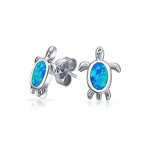 Synthetic Blue Opal Inlay Nautical Sea Turtle Studs 925 Sterling (925 Silberne Schildkröte)