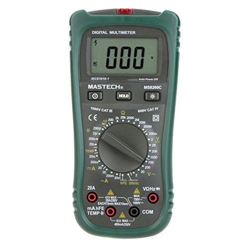 KKMOON MASTECH MS8260C MULTIMETRO DIGITAL DMM HZ TEMPERATURA METRO PROBADOR CONDENSADOR W/HFE TEST & LCD RETROILUMINACION