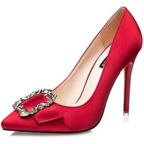 Mujer-Tacón Stiletto-Tacones-Tacones-Casual-Seda-Negro / Rojo / Gris / Oro