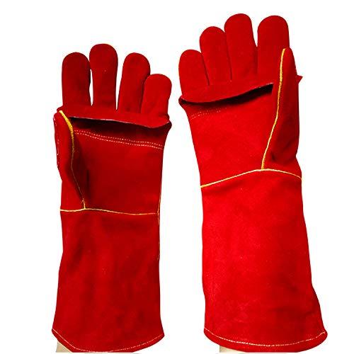 LAIABOR Profi Schweißerhandschuhe Arbeits-Handschuhe Sicherheitshandschuhe für Schweisser, auch als Grillhandschuh - Leder,Rot