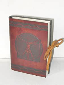 Journal, Carnet Leonardo Marron, motif estampé de Leonardo da Vinci, 9x 13cm