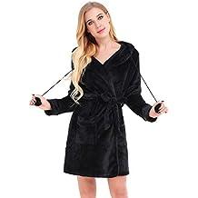 Dromild Señoras Robe algodón Bata Albornoz Suave Bata Larga para Mujer con ...