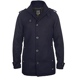BLEND Warren Herren Wollmantel lange Jacke aus hochwertiger Wollmischung mit Stehkragen, Größe:L, Farbe:Navy (70230)