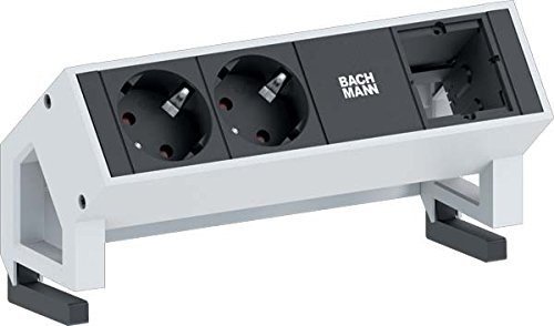 BACHMANN 2X SCHUKO 1X CUSTOM MODULE RAL9010 2AC OUTLET(S) NEGRO  COLOR BLANCO BASE MULTIPLE - BASES MULTIPLES (NEGRO  COLOR BLANCO  ALUMINIO  DE PLASTICO)