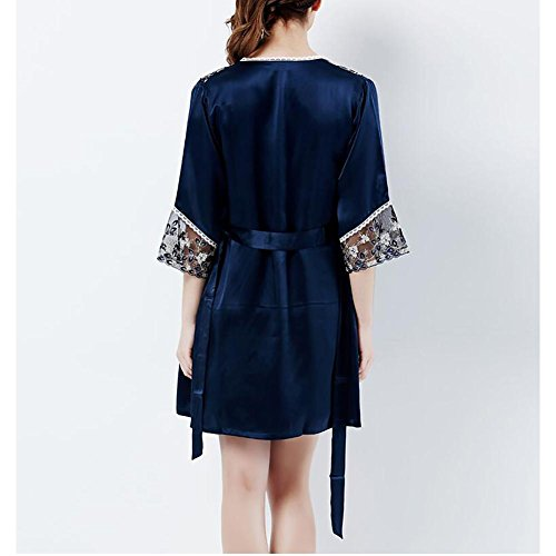 HXQ Damen Nachthemd Silk Pyjamas Sommer Seide Kleider Kleider Zweiteiliger Bademantel , deep blue deep blue