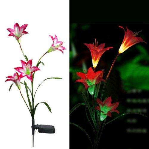 FRE Solarleuchten 4 Kopf Lilien Blumen LED Licht Lampen Garten Rasen Decor – Rot - 2