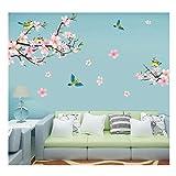Aisence Wandsticker Wandtattoo 170x85 cm Pfirsich Blumen mit Vögeln Wandbild Kirschblüten Sakura Blumen Zweig Pflanzen Aufkleber Deko für Wohnzimmer, Schlafzimmer, Küche XL