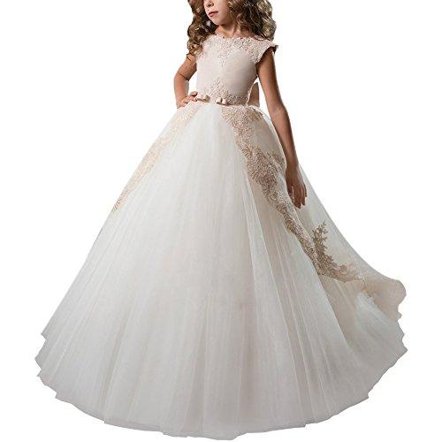 Kleid Pinzessin Kostüm Lange Brautjungfern Kleider Hochzeit Party Festzug #15 Beige + Weiß 6-7 Jahre (Festzug Mädchen Halloween Kostüm)