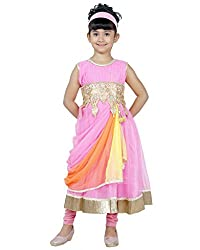 JBN Creation Pink Girls Kurti and Leggings set with embroidered waist line and knotted dupatta