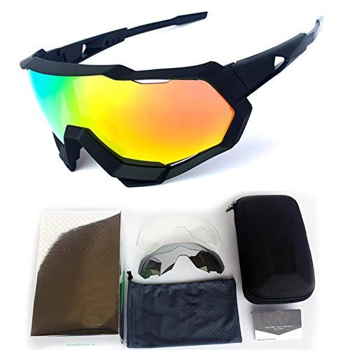 Pkfinrd Sportsonnenbrille mit UV400-Schutz und unverwüstlichem Gestell für Herren-Outdoor-Sportarten Angeln Skifahren Golf Laufen Radfahren Camping@Alle schwarzen Rahmen weißes Etikett