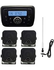 Marine Radio paquete Bluetooth USB reproductor de mp3impermeable estéreo sistema 4caja de montaje en pared, altavoces con radio antena antena flexible