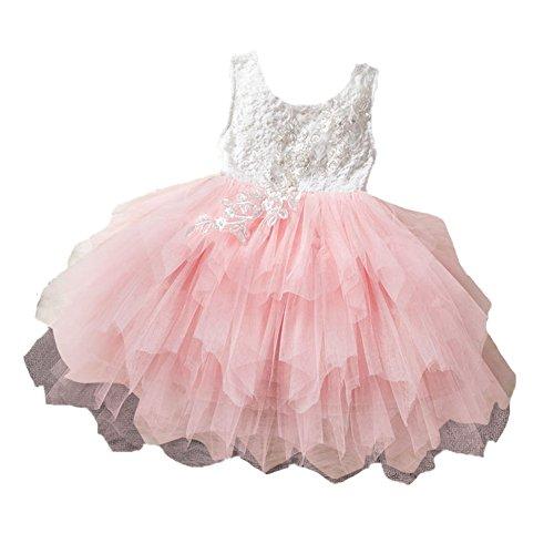 Mädchen Kleid Baby Sommerkleid Spitze Stickerei Prinzessin Kleid ärmellos Backless