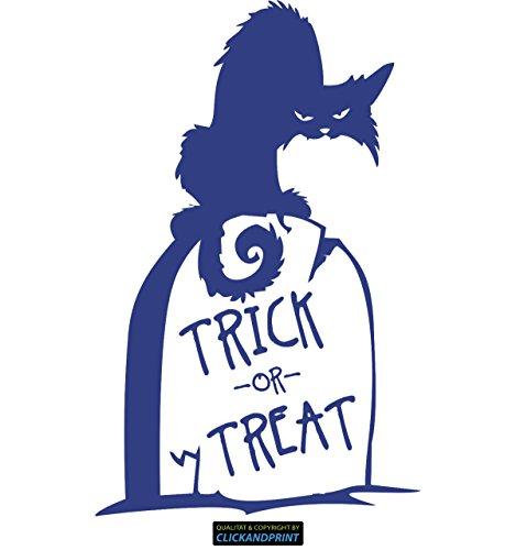 CLICKANDPRINT Aufkleber » Trick or Treat Katze, 40x25,2cm, Königsblau • Wandtattoo / Wandaufkleber / Wandsticker / Wanddeko / (Grabsteine Namen Halloween)