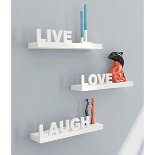 Onlineshoppee Beautiful Wooden White Wall Shelves Live/Love/Laugh