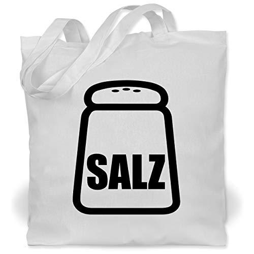 Erwachsenen Kostüm Für Salz - Shirtracer Karneval & Fasching - Salz Karneval Kostüm - Unisize - Weiß - WM101 - Stoffbeutel aus Baumwolle Jutebeutel lange Henkel