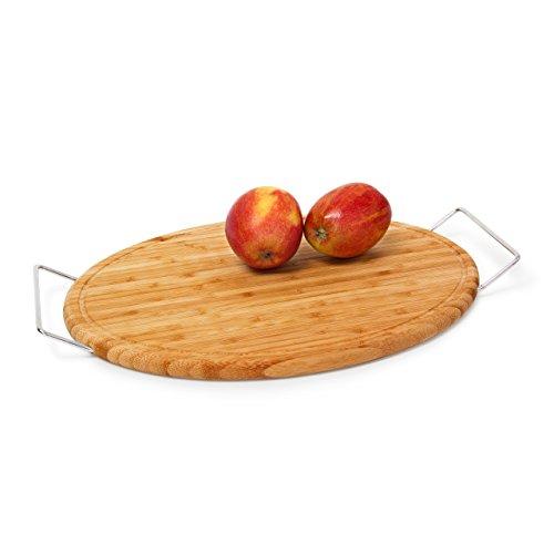 Relaxdays Planche de service en bambou avec poignées en métal HxlxP : 4 x 43,4 x 29 cm Plateau service Présentoir ovale avec rigoles pour le jus, nature