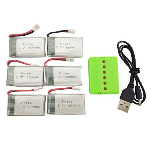 Fytoo 6pcs 3.7V 600mah Lipo Batería 6 1 Cargador