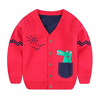 BOBORA Boy Kids Dinosaur Cardigan Children Autumn Winter Long Sleeved Jersey Shirt Knitted Outwears for 3-8Years : everything five pounds (or less!)