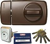 ABUS Tür-Zusatzschloss 7010 B braun, EC660, Kastenschloss mit Drehknauf, mit 6 Schlüssel und Sicherungskarte, Ausführung EK (Metallausführung)