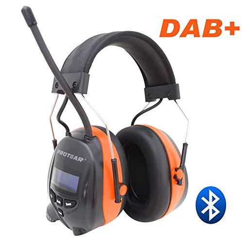 Protear Gehörschutz mit DAB + / FM-Radio und Bluetooth, kabellose Kopfhörer mit Geräuschunterdrückung für die Werkstatt, Garten/Mähen, CE-zertifiziertes SNR 30dB