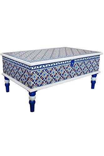Marokkanischer Tisch Couchtisch 100cm | Orientalischer Holz Sofatisch orientalisch handbemalt | Indischer Wohnzimmertisch Truhentisch mit Stauraum | Asiatische